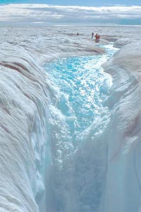 A meltstream in high summer on the Greenland ice sheet, (photo by Roger J. Braithwaite, The University of Manchester)