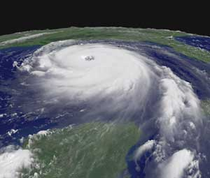 Hurricane Katrina over the Gulf of Mexico (image courtesy of NOAA)