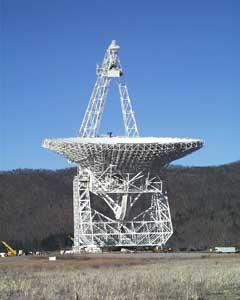 A radiotelescope at the National Radio Astronomy Observatory in Green Bank, West Virginia.