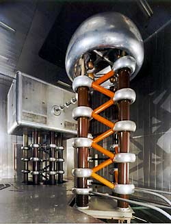 The 750 KV preaccelerator of the Intense Pulsed Neutron Source (IPNS) (photo courtesy of Argonne National Laboratory)