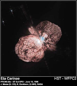 This Hubble image shows lEta Carinae, an extremely large star in the Milky Way that survived an outburst about 150 years ago. This star is a potential supernova.  (image credit: J. Morse [U. Colorado], K. Davidson [U. Minnesota], STScI, and NASA)
