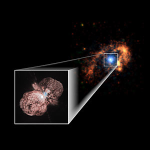 This image shows Eta Carinae, in both the visible—inset and blue, and in radio—the orange nebula. (image credit: Chandra Science Center and NASA)
