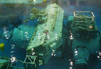 A mock up of the ISS underwater.