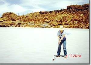 Anne playing golf on the Salar de Uyuni (huge salt flats) in Bolivia.