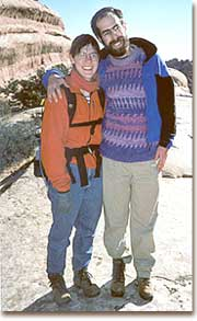 David and wife Ilana Goldhaber-Gordon pose during a winter hike through the arid Utah wilderness.