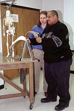 Vincent Rodgers with student and skeleton