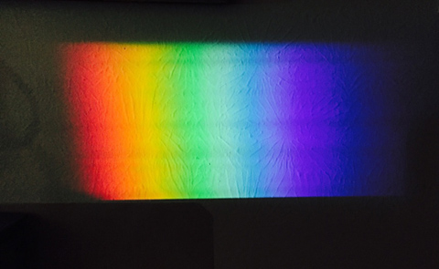 Something is amiss in this image of a prismatic rainbow—blue appears twice!