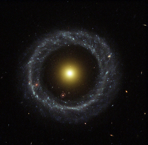 Hoag's Object: A ring of hot blue stars orbit at a distance in a near-perfect ring around this galaxy's core.