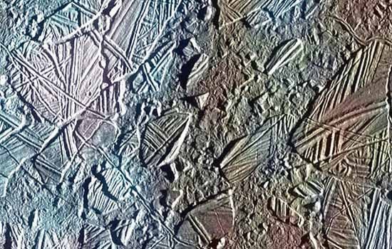 Ice crust on Jupiter's moon Europa.