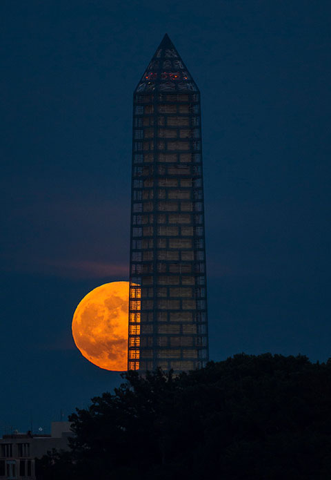 The supermoon passed behind the Washington Monument on June 23, 2013