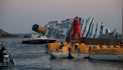 The Costa Concordia wreckage