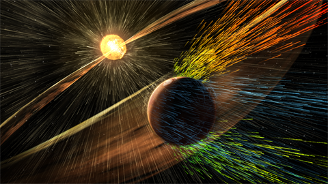 Artist's rendering of a solar storm hitting Mars and stripping ions from the planet's upper atmosphere.