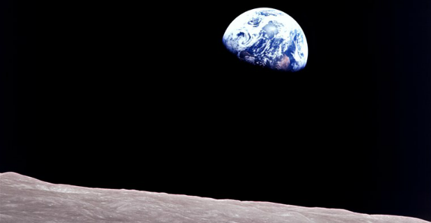 Looking back at earth from the moon.