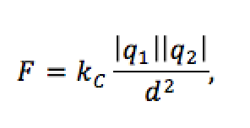 The force between two charges is equal to the magnitude of the charges divided by the square of the distance between them, adjusted to scale by a constant factor K: Coulomb's Constant.