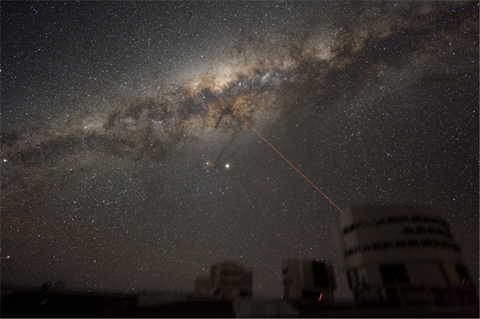 A ground-based photograph of the milky way, with a laser pointing from an observatory toward the galaxy's core.