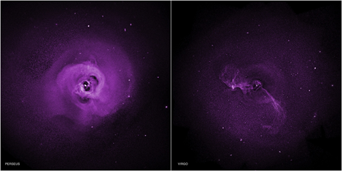 Images of two different galaxy clusters, suggesting tubulence near dark cavities in the clusters' centers.