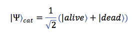The mathematical formalism for treating a cat as a superposition of dead and alive states, in bra-ket notation.