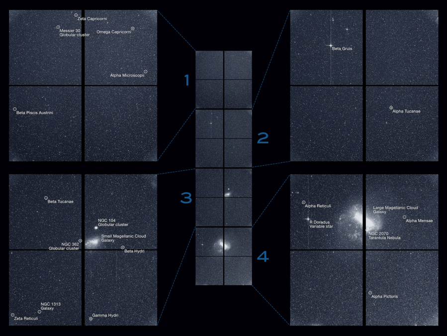 Images taken with TESS's four cameras during its pre-survey period