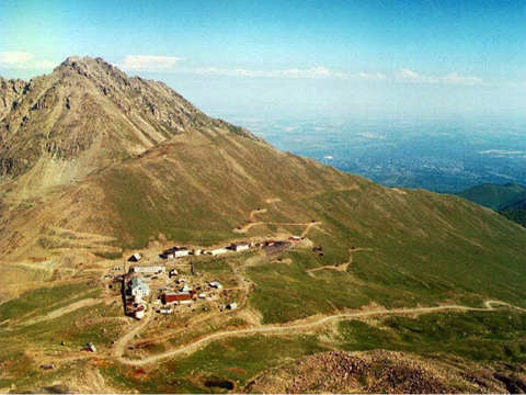 An old photograph of the Tien-Shan Mountain Cosmic Ray Station, where Groza is located.