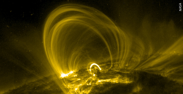 Coronal Loops <br>Stretching tens of thousands of miles into the solar atmosphere, even a relatively small coronal loop could easily fit the earth through its arch.